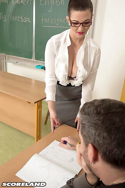 Nerdy schoolteacher Vanessa..