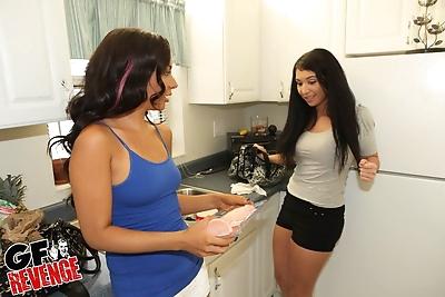 Teen girls share a dildo..