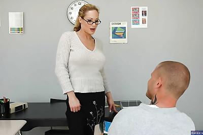 Sexy teacher has her milf..