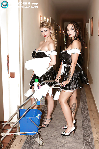 Two busty lesbian maids in..