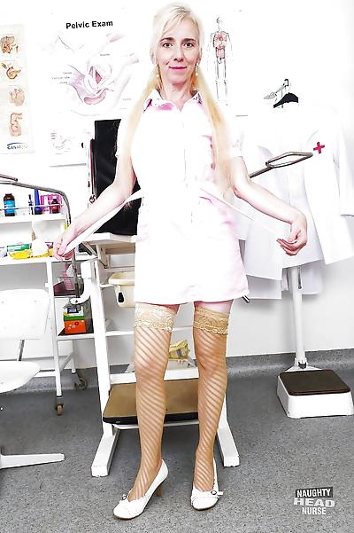 Older blonde nurse rids..