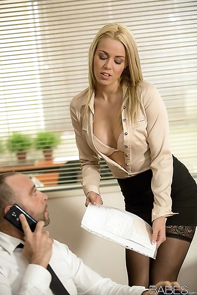 Blonde secretary dripping..