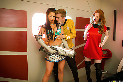 Busty cosplay attired chicks..