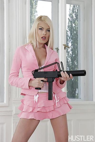 Hot blonde lays down her gun..